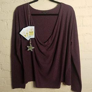 Eileen Fisher Cotton-Viscose-Linen Plum Sweater